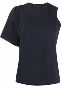 Low Classic Blusa Ombro Único Com Recorte Vazado - Azul