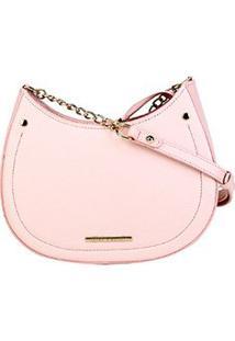 Bolsa Couro Jorge Bischoff Mini Bag Canoa Alça Corrente Feminina - Feminino-Rosa Claro