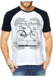 Camiseta Criativa Urbana Raglan Bicicleta Retrô - Masculino