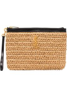 Saint Laurent Straw Clutch Bag - Marrom