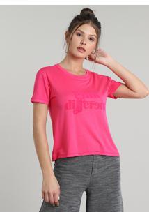 "Blusa Feminina Em Moletom ""Pink Different"" Manga Curta Decote Redondo Rosa"