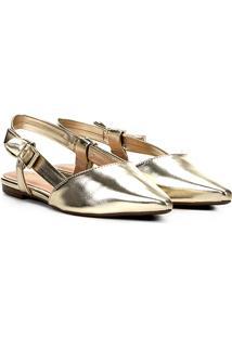 06bbccb527 Zattini. Sapatilha Lã Bico Fino Chanel Dourada ...