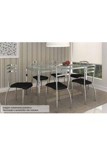 Sala De Jantar Kappesberg Reno 150Cm+6 Cadeiras Cromad/Preto