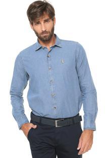 Camisa Jeans Aleatory Reta Lisa Azul