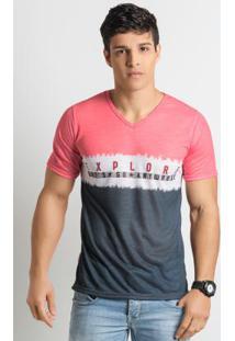 Camiseta Decote V Rosa E Cinza