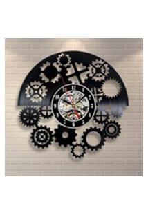 Black Gear Record Clock Art Design Shop Escritório Sala De Jogos Quarto Relógio De Parede Decoração Da Parede De Casa Acessórios Do Quarto