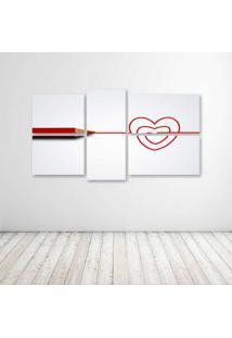 Quadro Decorativo - Love Coração - Composto De 5 Quadros