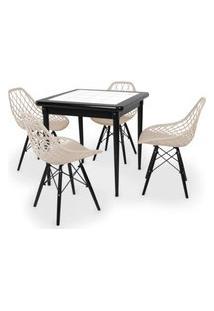 Conjunto Mesa De Jantar Em Madeira Preto Prime Com Azulejo + 4 Cadeiras Vision - Nude