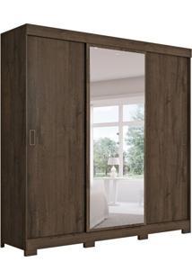 Guarda-Roupa Casal Com Espelho Aliança 3 Pt Café