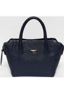 Bolsa Em Couro Texturizada- Azul Marinho & Dourada- Anette