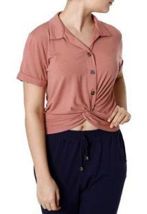 Camisa Autentique Manga Curta Feminina - Feminino-Rosa