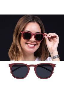 Óculos De Sol Flexível Não Quebra Feminino Polarizado Vermelho