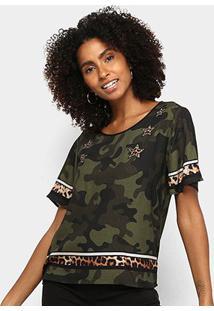 Camiseta Triton Camuflada Manga Curta Feminina - Feminino-Colorido