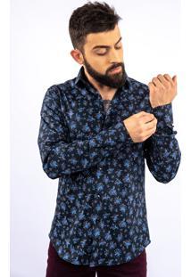 Camisa Lupim Slim Fit Floral Marinho