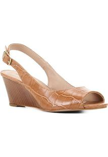 Peep Toe Couro Shoestock Anabela Croco - Feminino-Caramelo