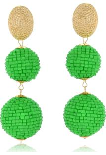 Brinco Le Diamond Bolas De Miçangas Verde - Kanui