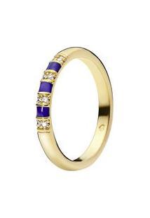 Anel Shine Descoberta- Dourado & Azul- Tamanho 58 = Pandora