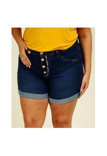 Short Plus Size Feminino Jeans Barra Dobrada
