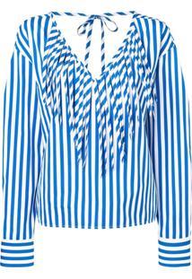Msgm Blusa Listrada - Azul