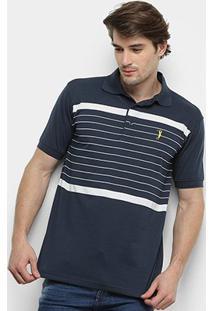 Camisa Polo Aleatory Listras Horizontais Fio Tinto Masculina - Masculino-Preto+Branco