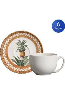 Conjunto 6 Xícaras De Chá Com Pires Pineapple Natural - Porto Brasil - Verde / Bege