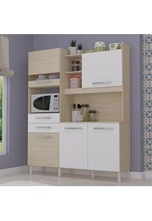 Armário De Cozinha 5 Portas Com Nichos Grécia Móveis Ronipa Carvalho/Branco
