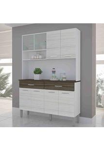 Armário De Cozinha 8 Portas Vitrus Kit'S Paraná Branco/Rovere/Cp-Dubai