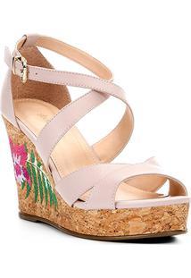 Sandália Plataforma Couro Shoestock Bordado Floral Feminina - Feminino-Nude