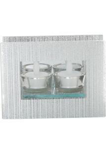 Castiçal De Vidro Espelhado Com Duas Velas Eletricas 16X6,3X12 - Unissex