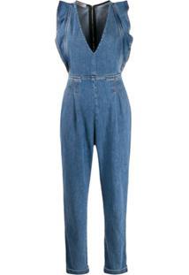 Philosophy Di Lorenzo Serafini Macacão Jeans Com Acabamento De Babados - Azul
