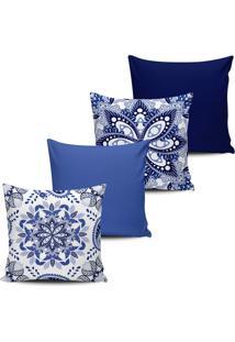 Kit 4 Capas Almofada Estampa Floral Tons De Azul 45X45Cm - Tricae