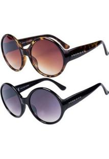 Promoção Kit 2 Óculos De Sol Femininos Prorider Casuais Preto