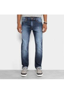 Calça Jeans Slim Cavalera Classic Estonada Masculina - Masculino-Azul Escuro