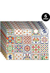 Kit 6Pçs Jogo Americano Mdecor Azuleijo Branco