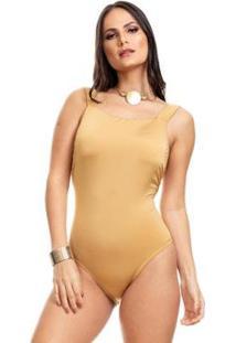 Body Clara Arruda Decote Quadrado 17012 - Feminino-Dourado