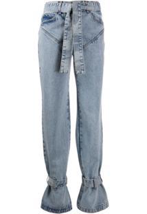 Almaz Tied-Hem Panelled Jeans - Azul