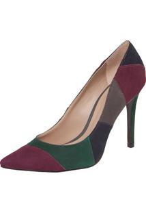 Scarpin My Shoes Bico Fino Salto Alto Patchwork Verde/Vinho