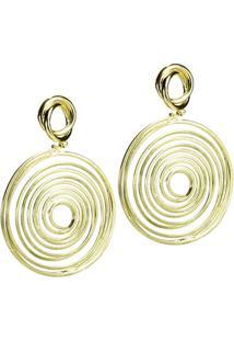 Brinco Banho De Ouro Com Aro Em Espiral - Feminino-Dourado