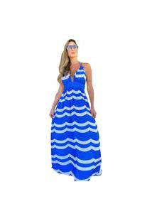 Vestido Zarky Longo Esstampado Azul