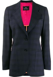 Ps Paul Smith Blazer Xadrez De Lã - Azul