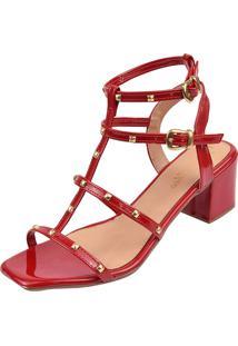 Sandã¡Lia Salto Bloco Rosa Chic Calã‡Ados Gladiadora Spike Bico Quadrado Tachas Vermelha - Vermelho - Feminino - Dafiti