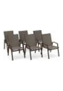 Kit 6 Cadeira Riviera Piscina Alumínio Marrom Tela Fendi