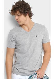 Camiseta Ellus Flamê Gola V Fine Classic Masculina - Masculino-Cinza