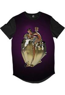 Camiseta Longline Bsc Coração De Máquina Motor Sublimada Fosco Masculina - Masculino-Roxo