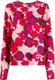 Marni Blusa Com Estampa Pixel - Rosa