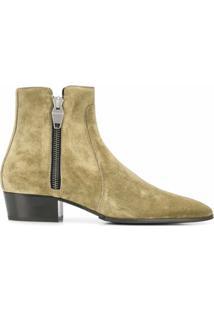 Balmain Ankle Boot Com Zíper - Verde