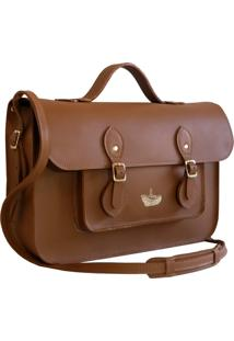 Bolsa Line Store Leather Satchel Mã©Dia Couro Savannah Premium - Caramelo - Dafiti