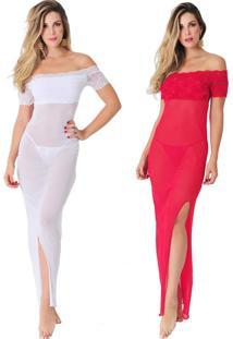 Kit 02Pçs Camisola Rendada Longa Luxo Branca E Vermelha Diário Íntimo