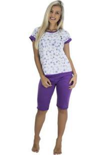 Pijama Pescador Blusinha E Calça Curta Mvb Modas Feminino - Feminino-Roxo