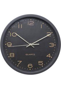 Relógio Parede Plástico Essential Round Preto E Dourado 25,4X4X25,4 Cm Urban